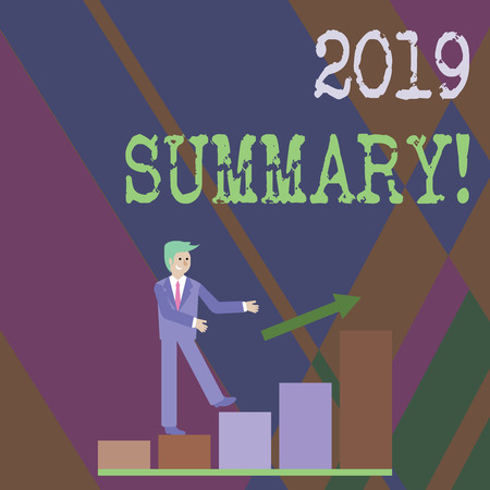 Writing note showing 2019 Summary. Business concept for summarizing past year events main actions or good shows Smiling Businessman Climbing Bar Chart Following an Arrow Up Reklamní fotografie