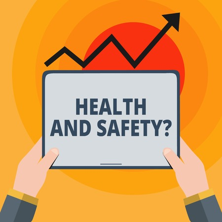 Word writing text Health And Safety question. Business photo showcasing regulations and procedures intended to prevent accident Hand Holding Blank Screen Tablet under Black Progressive Arrow Going Upward