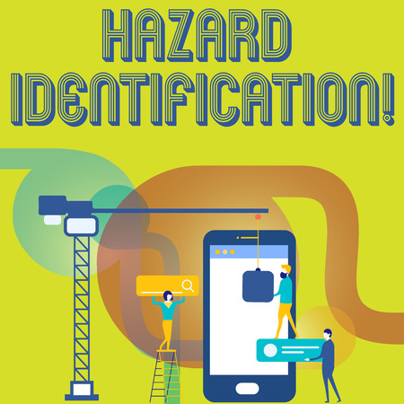 Text sign showing Hazard Identification. Business photo text process used to identify hazards in the workplace Staff Working Together for Common Target Goal with SEO Process Icons Stock fotó