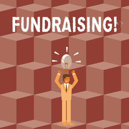 Conceptual hand writing showing Fundraising. Concept meaning seeking to generate financial support for charity or cause Businessman Raising Arms Upward with Lighted Bulb icon above