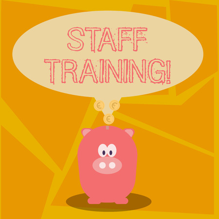 Conceptual hand writing showing Staff Training. Concept meaning program helps employees learn specific knowledge or skills Speech Bubble with Coins on its Tail Pointing to Piggy Bank Фото со стока - 120577713