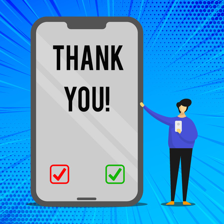 Handwriting text writing Thank You. Conceptual photo polite expression used when acknowledging gift service compliment Man Presenting Huge Blank Screen Smartphone while Holding Another Mobile