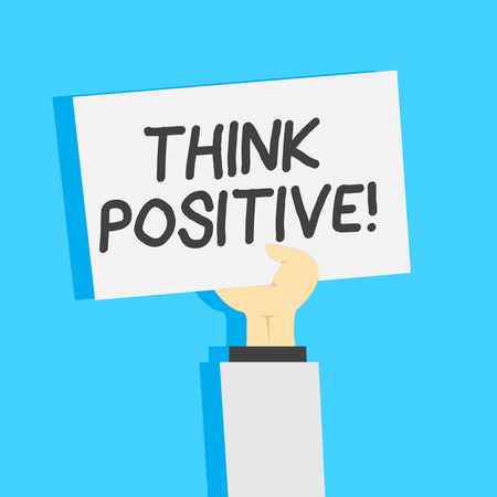 Handwriting text writing Think Positive. Conceptual photo mental attitude in wich you expect good and favorable results Clipart of Hand Holding Up Blank Sheet of White Paper on Pastel Backdrop