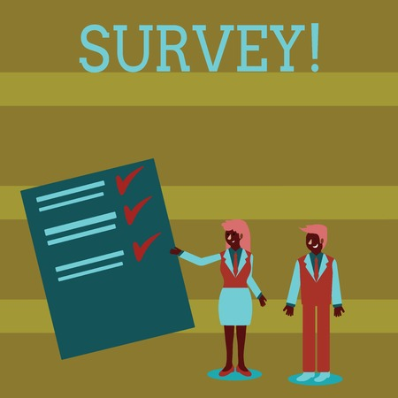 Handwriting text Survey. Conceptual photo research method used for collecting data from a predefined group Man and Woman in Business Suit Presenting Report of Check and Lines on Paper