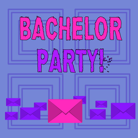 Text sign showing Bachelor Party. Business photo text given for analysis who is about to get married attended by men Pastel Color Closed Envelopes in Different Sizes with Big one in the Middle Stok Fotoğraf