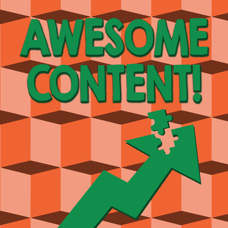 Word writing text Awesome Content. Business photo showcasing you are satisfied and happy about what book move contain Colorful Arrow Pointing Upward with Detached Part Like Jigsaw Puzzle Piece