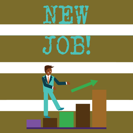 Text sign showing New Job. Business photo text recently having paid position of regular employment Smiling Businessman Climbing Colorful Bar Chart Following an Arrow Going Up Banco de Imagens - 120577995
