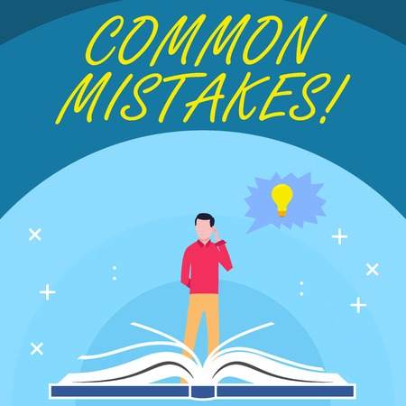 Handwriting text Common Mistakes. Conceptual photo repeat act or judgement misguided making something wrong Man Standing Behind Open Book, Hand on Head, Jagged Speech Bubble with Bulb Stock Photo