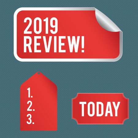 Writing note showing 2019 Review. Business concept for remembering past year events main actions or good shows Color Label Self Adhesive Sticker with Border Corner and Tag