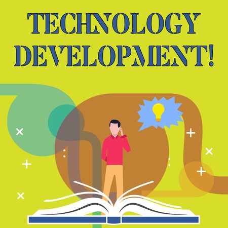 Conceptual hand writing showing Technology Development. Concept meaning Anything in regards to inventions or innovations Man Standing Behind Open Book Jagged Speech Bubble with Bulb