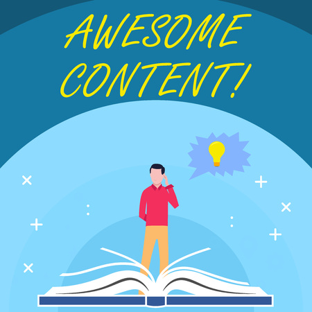 Handwriting text Awesome Content. Conceptual photo you are satisfied and happy about what book move contain Man Standing Behind Open Book, Hand on Head, Jagged Speech Bubble with Bulb