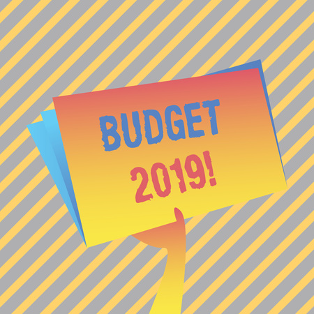 Writing note showing Budget 2019. Business concept for estimate of income and expenditure for current year Hand Holding Blank Space Color File Folder with Sheet Inside