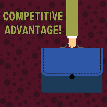 Conceptual hand writing showing Competitive Advantage. Concept meaning Condition that puts a company in a favorable position Businessman Carrying Colorful Briefcase Portfolio Applique