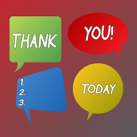 Handwriting text Thank You. Conceptual photo polite expression used when acknowledging gift service compliment Blank Speech Bubble Sticker in Different Shapes and Color for Multiple Chat