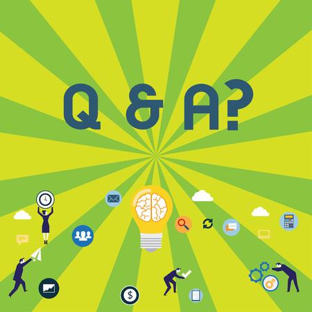 Schreiben Hinweis mit Q und A-Frage. Geschäftskonzept, bei dem die Demonstration Fragen stellt und eine andere sie beantwortet Business Digital Marketing Symbol, Element und Konzeptsymbole Standard-Bild