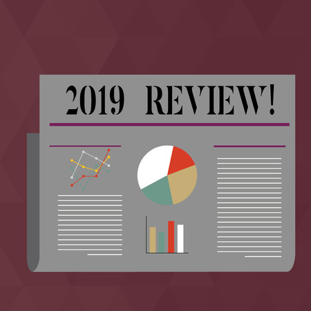 Handwriting text writing 2019 Review. Conceptual photo remembering past year events main actions or good shows Colorful Layout Design Plan of Text Line, Bar, Linear and Pie Chart Diagram Reklamní fotografie