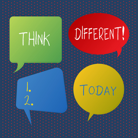 Handwriting text writing Think Different. Conceptual photo direct ones mind towards someone or something uniquely Blank Speech Bubble Sticker in Different Shapes and Color for Multiple Chat