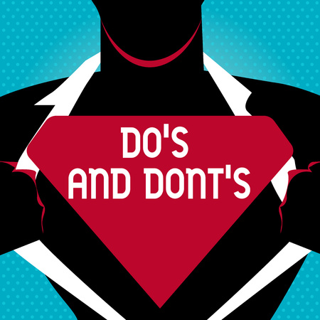 Text sign showing Dos Is And Donts Is. Business photo text advising Rules or customs concerning some activity Man in Pose Opening his Shirt to reveal the Blank Triangular Stock Photo