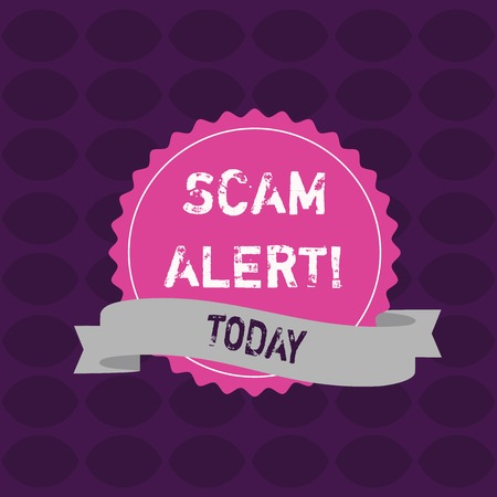 Conceptual hand writing showing Scam Alert. Concept meaning fraudulently obtain money from victim by persuading him Color Seal Sticker with Jagged Edge and Shaded Ribbon Strip Stock Photo