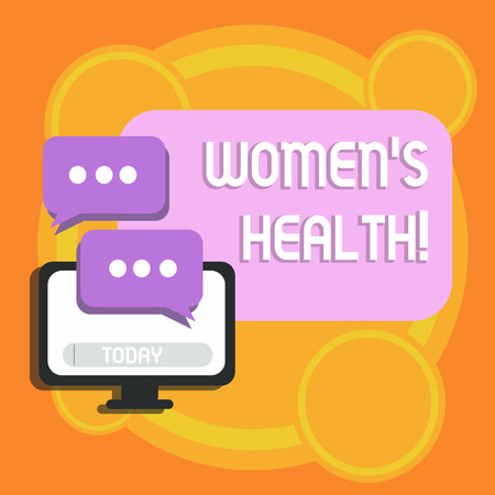 Writing note showing Womens Health. Business concept for Chronic diseases conditions as heart disease cancer diabetes Monitor and Two Speech Balloon with Three Dots for Chat Icon Stock Photo