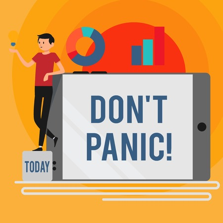Word writing text Don't Panic. Business photo showcasing suddenly feel so worried or frightened that you can not behave Man Leaning on Blank Smartphone Turned on Its Side with Graph and Idea Icon Archivio Fotografico