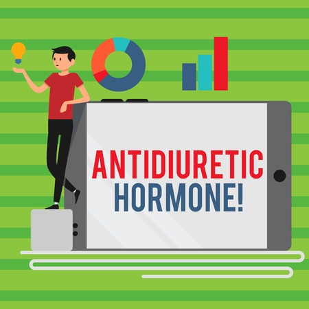 Word writing text Antidiuretic Hormone. Business photo showcasing peptide molecule that is release by the pituitary gland Man Leaning on Blank Smartphone Turned on Its Side with Graph and Idea Icon