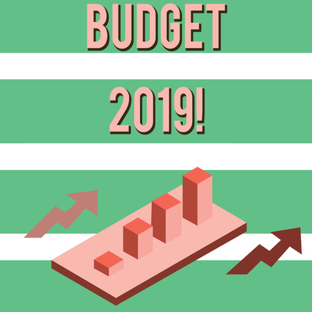 Writing note showing Budget 2019. Business concept for estimate of income and expenditure for current year Clustered 3D Bar Chart Graph in Perspective with Two Arrows