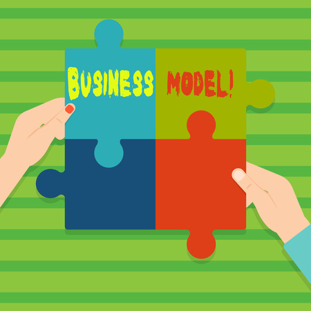 Conceptual hand writing showing Business Model. Concept meaning plan for successful operation of business identifying revenue Multi Color Jigsaw Puzzle Pieces Put Together by Human Hands