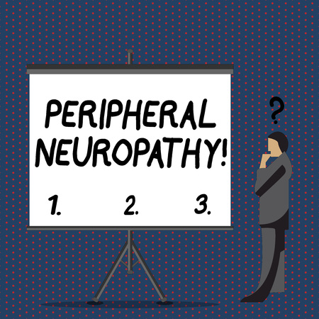 Text sign showing Peripheral Neuropathy. Business photo text condition or disease affecting the peripheral nerves Businessman with Question Mark Above his Head Standing Beside Blank Screen