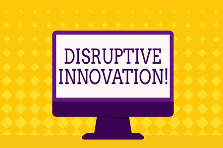 Text sign showing Disruptive Innovation. Business photo showcasing displacing established marketleading firms or product Blank Space Desktop Computer Colorful Monitor Screen Freestanding on Table