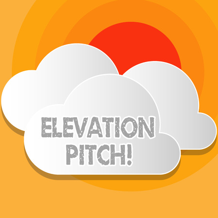 Writing note showing Elevator Pitch. Business concept for short description of product business idea given to investor White Clouds Cut Out of Board Floating on Top of Each Other Stock Photo