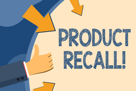 Text sign showing Product Recall. Business photo showcasing request analysisufacturer return product after discovery issues Hand Gesturing Thumbs Up and Holding on Blank Space Round Shape with Arrows