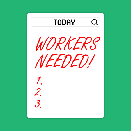 Handwriting text Workers Needed. Conceptual photo Someone who is employed by agency work another company Search Bar with Magnifying Glass Icon photo on Blank Vertical White Screen