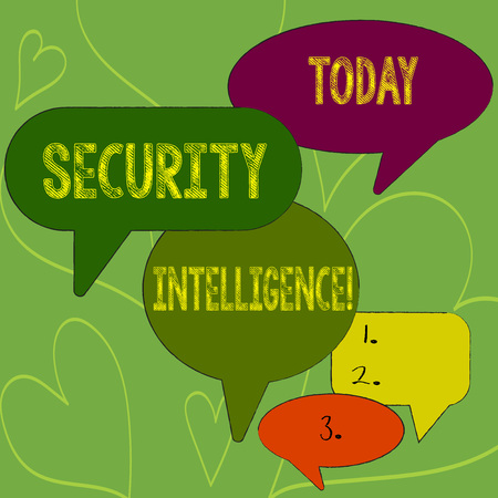 Writing note showing Security Intelligence. Business concept for protecting an organization from threats and risks Speech Bubble in Different Sizes and Shade Group Discussion