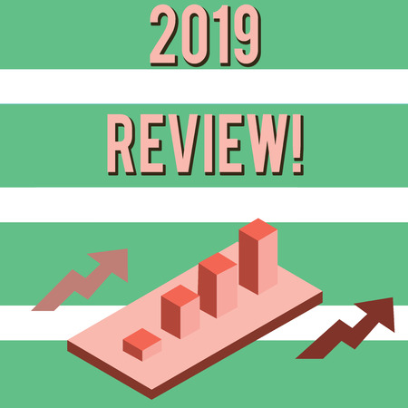 Writing note showing 2019 Review. Business concept for remembering past year events main actions or good shows Clustered 3D Bar Chart Graph in Perspective with Two Arrows