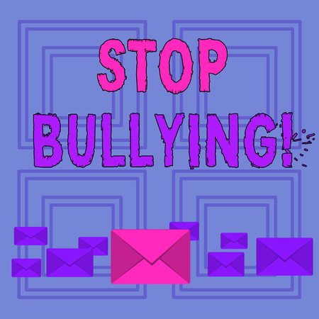 Text sign showing Stop Bullying. Business photo text no aggressive behavior among children power imbalance Pastel Color Closed Envelopes in Different Sizes with Big one in the Middle