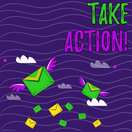 Text sign showing Take Action. Business photo showcasing do something official or concerted to achieve aim with problem Many Colorful Airmail Flying Letter Envelopes and Two of Them with Wings