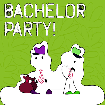 Text sign showing Bachelor Party. Business photo text given for analysis who is about to get married attended by men Figure of Two Men Standing with Pouch Bag on White Sticker Style Snow Effect Foto de archivo