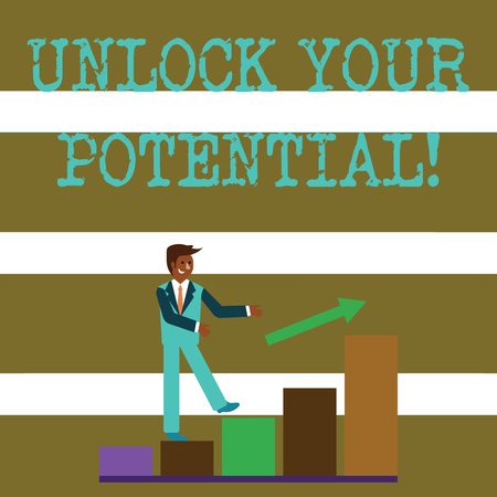 Text sign showing Unlock Your Potential. Business photo text release possibilities Education and good training is key Smiling Businessman Climbing Colorful Bar Chart Following an Arrow Going Up Reklamní fotografie