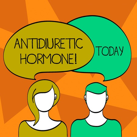 Word writing text Antidiuretic Hormone. Business photo showcasing peptide molecule that is release by the pituitary gland Blank Faces of Male and Female with Colorful Blank Speech Bubble Overlaying