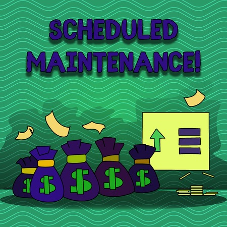 Word writing text Scheduled Maintenance. Business photo showcasing predetermined maintenance carried out at regular time Colorful Money Bag with Dollar Currency Sign and Arrow with Blank Banknote 스톡 콘텐츠