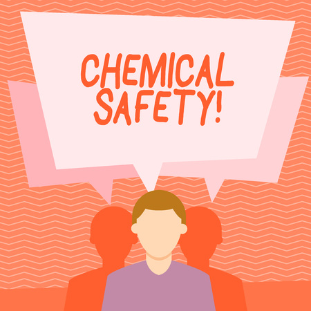 Text sign showing Chemical Safety. Business photo text practice minimizing risk exposure chemicals any environment Faceless Man has Two Shadows Each has Their Own Speech Bubble Overlapping
