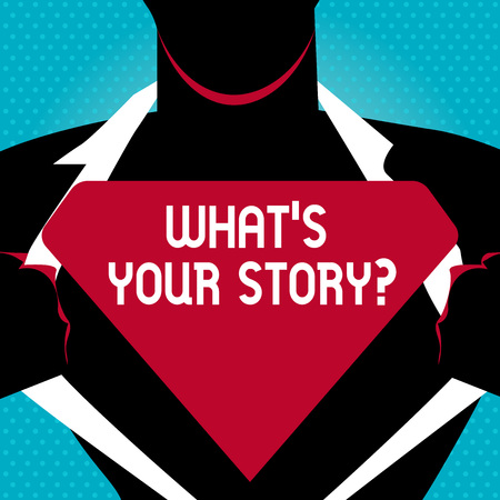 Text sign showing Whats Is Your Story question. Business photo text being asked by someone about my own journey from beginning till now Man in   Pose Opening his Shirt to reveal the Blank Triangular
