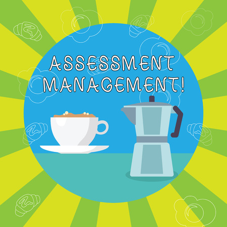 Handwriting text writing Assessment Management. Conceptual photo analysisagement of investments on behalf of others White Cup of Frothy Beverage and Kettle with Drawings of Croissant and Egg 版權商用圖片