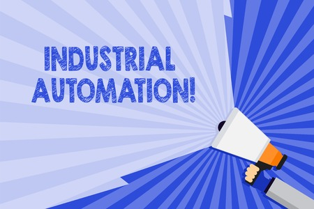 Word writing text Industrial Automation. Business photo showcasing Use of control systems to handle industrial process Hand Holding Megaphone with Blank Wide Beam for Extending the Volume Range
