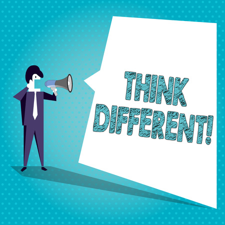 Text sign showing Think Different. Business photo text direct ones mind towards someone or something uniquely Businessman Shouting on Megaphone and Blank White Uneven Shape Speech Bubble