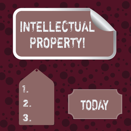 Conceptual hand writing showing Intellectual Property. Concept meaning Ownership of an idea or design by the demonstrating Color Label Self Adhesive Sticker with Border Corner and Tag