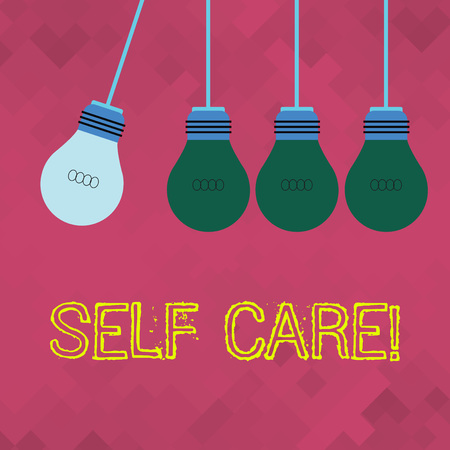 Text sign showing Self Care. Business photo showcasing practice of taking action to preserve or improve ones own health Color Incandescent Pendant Bulb Hanging with One Different Shade Lightbulb