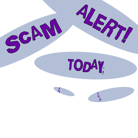 Word writing text Scam Alert. Business photo showcasing fraudulently obtain money from victim by persuading him Geometric Blue Oval Shape on White Isolated. Elliptical Solid Form in Random