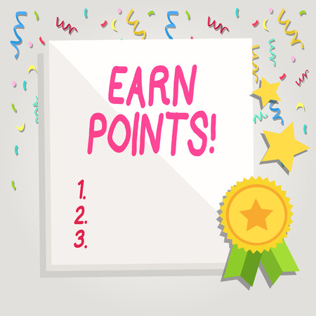 Text sign showing Earn Points. Business photo showcasing collecting scores in order qualify to win big prize White Blank Sheet of Parchment Paper Stationery with Ribbon Seal Stamp Label